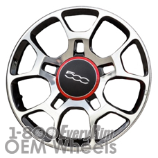 Picture of Fiat 500 (2012-2018) 16x6.5 Aluminum Alloy Machined with Black 5 Split Spoke [61663]