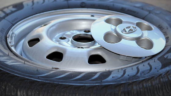 Steel OEM wheel painted silver with Hyundai center cap