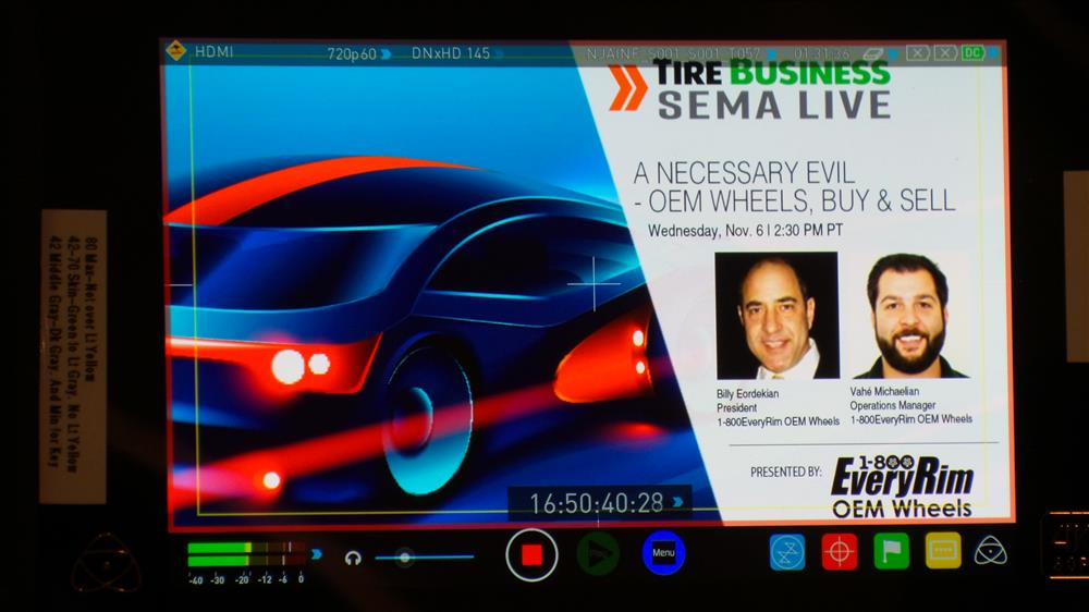 Tire Business SEMA Live Title Card with 1-800EveryRim OEM Wheels